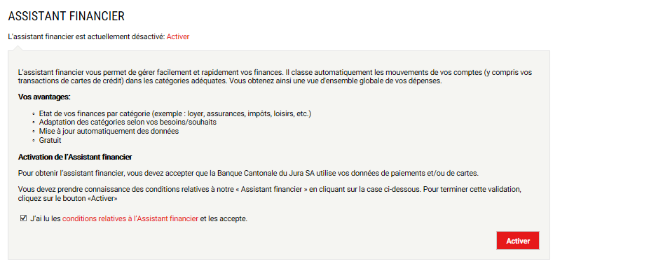 Activation de l'assistant financier